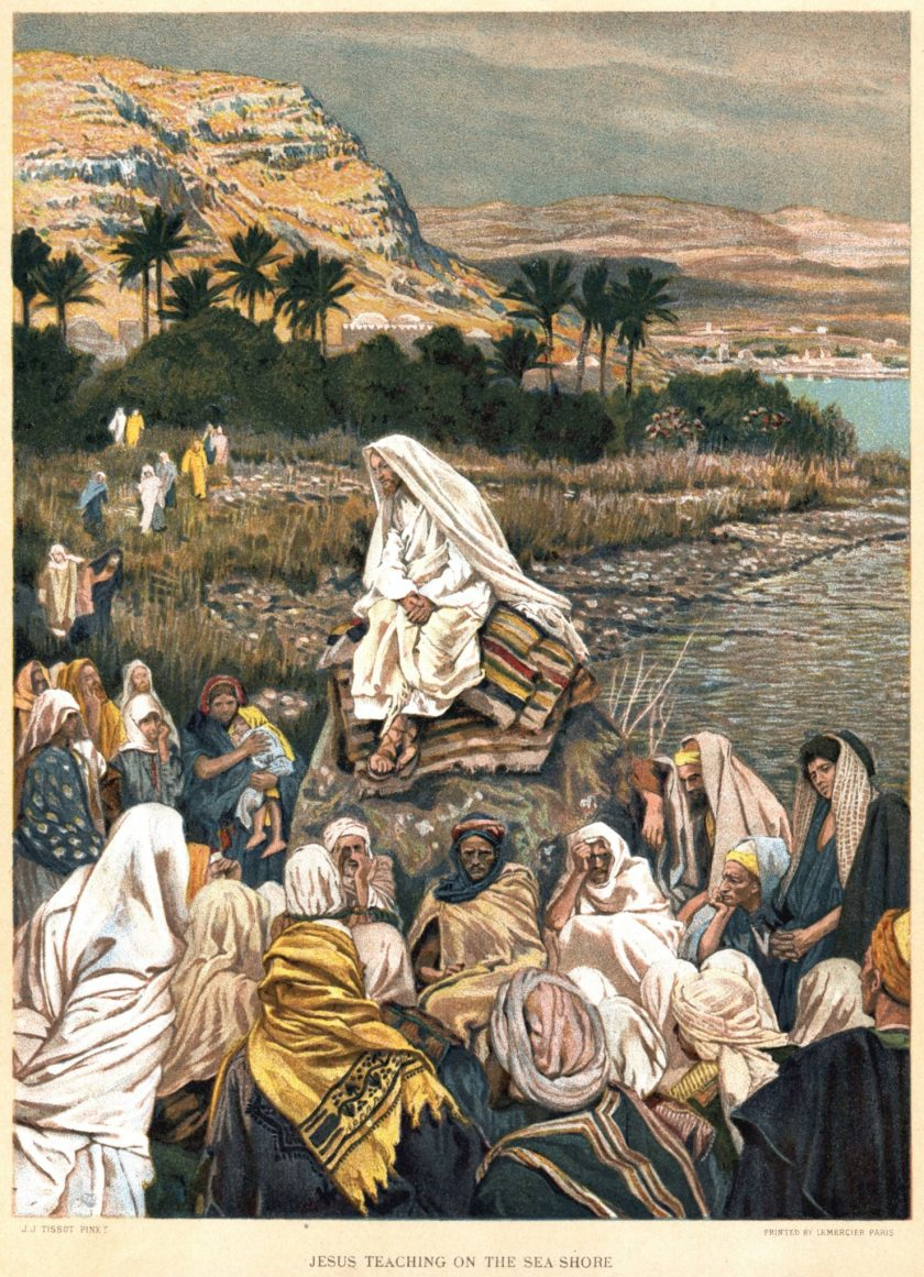 Jesus teaching on the seashore